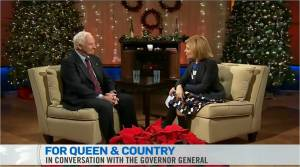Governor General Johnston talks to Sandie Rinaldo of CTV News