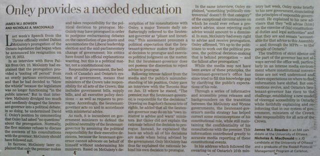 "Bowden & MacDonald, ""Ottawa Citizen, Onley Provides Much Needed Education"""
