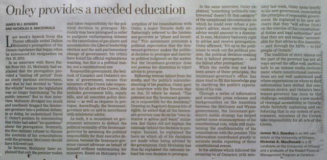 "Bowden & MacDonald, ""Ottawa Citizen, Onley Provides Much Needed Education"""