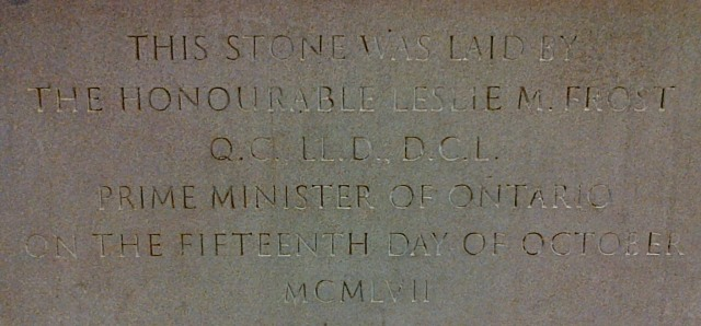 Leslie Frost, Prime Minister of Ontario, commemorates the Tory Building