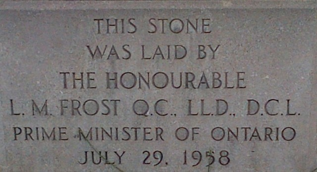 Leslie Frost, Prime Minister of Ontario, commemorates a building in downtown Toronto