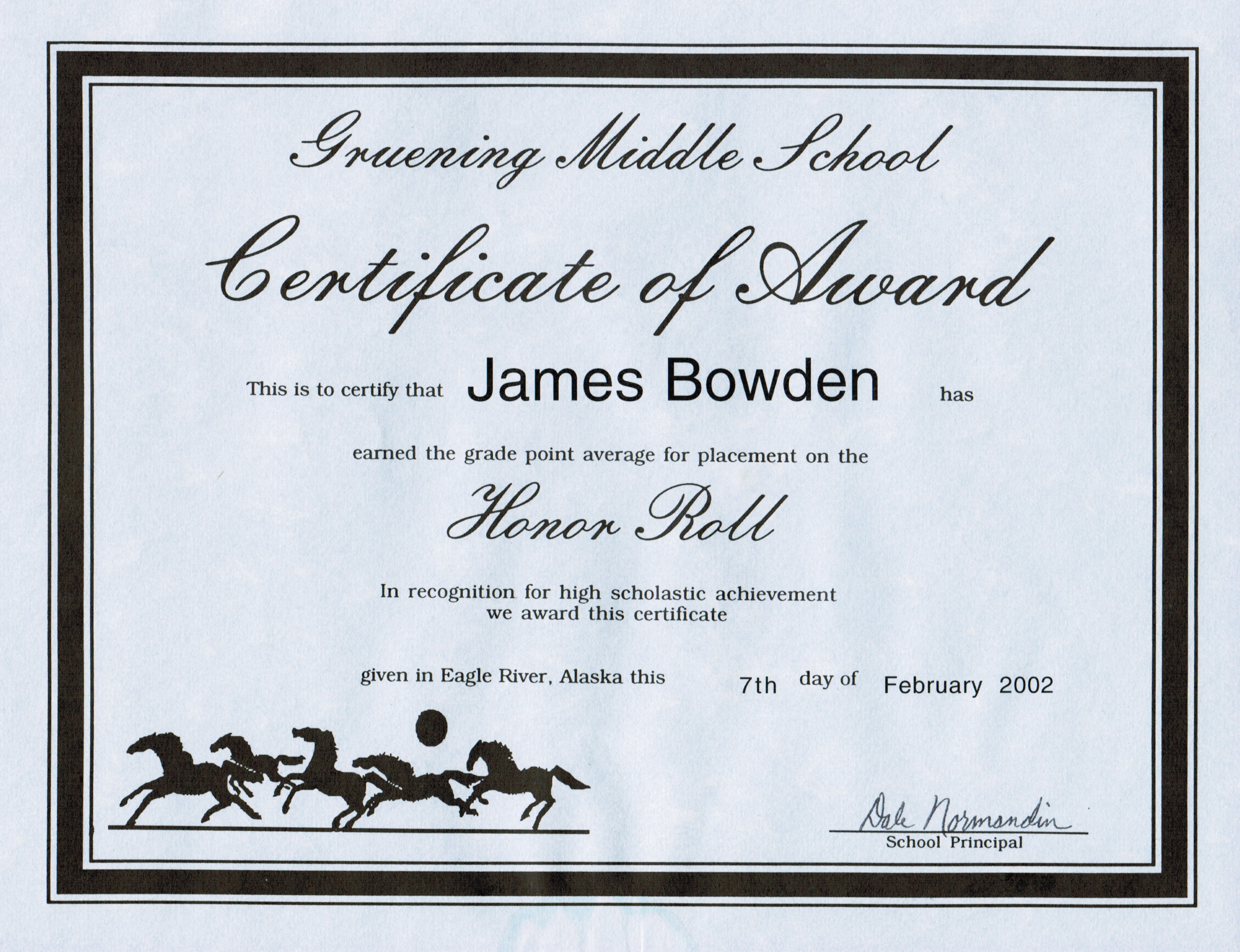 4 awards and certificates 2001 2010 james bowdens blog 2002 02 07 honour roll grade 8 3rd quarter xflitez Gallery