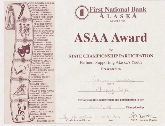 2003, ASAA Award for Swimming