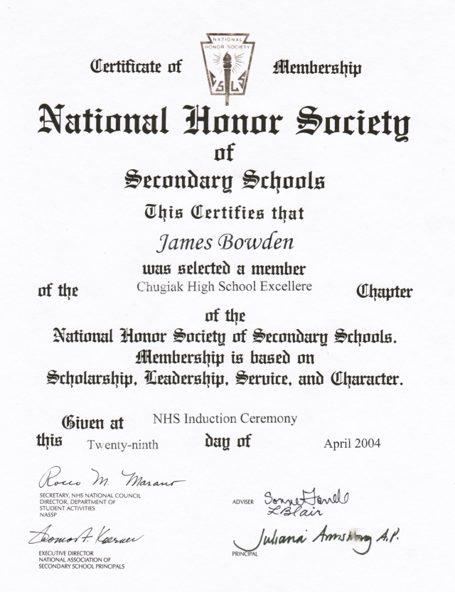 2004-04-29, National Honor Society