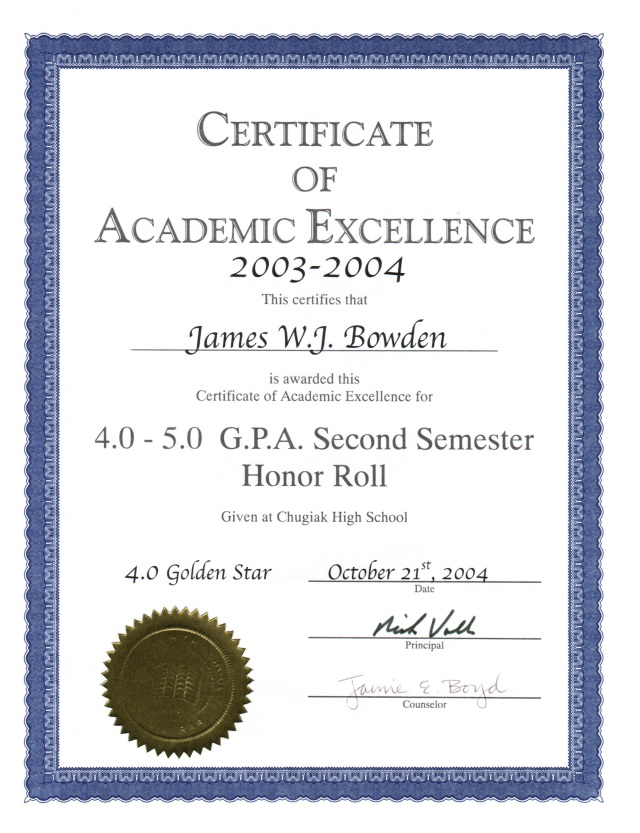 2004-10-21, Honour Roll (Grade 10, 2nd Semester)
