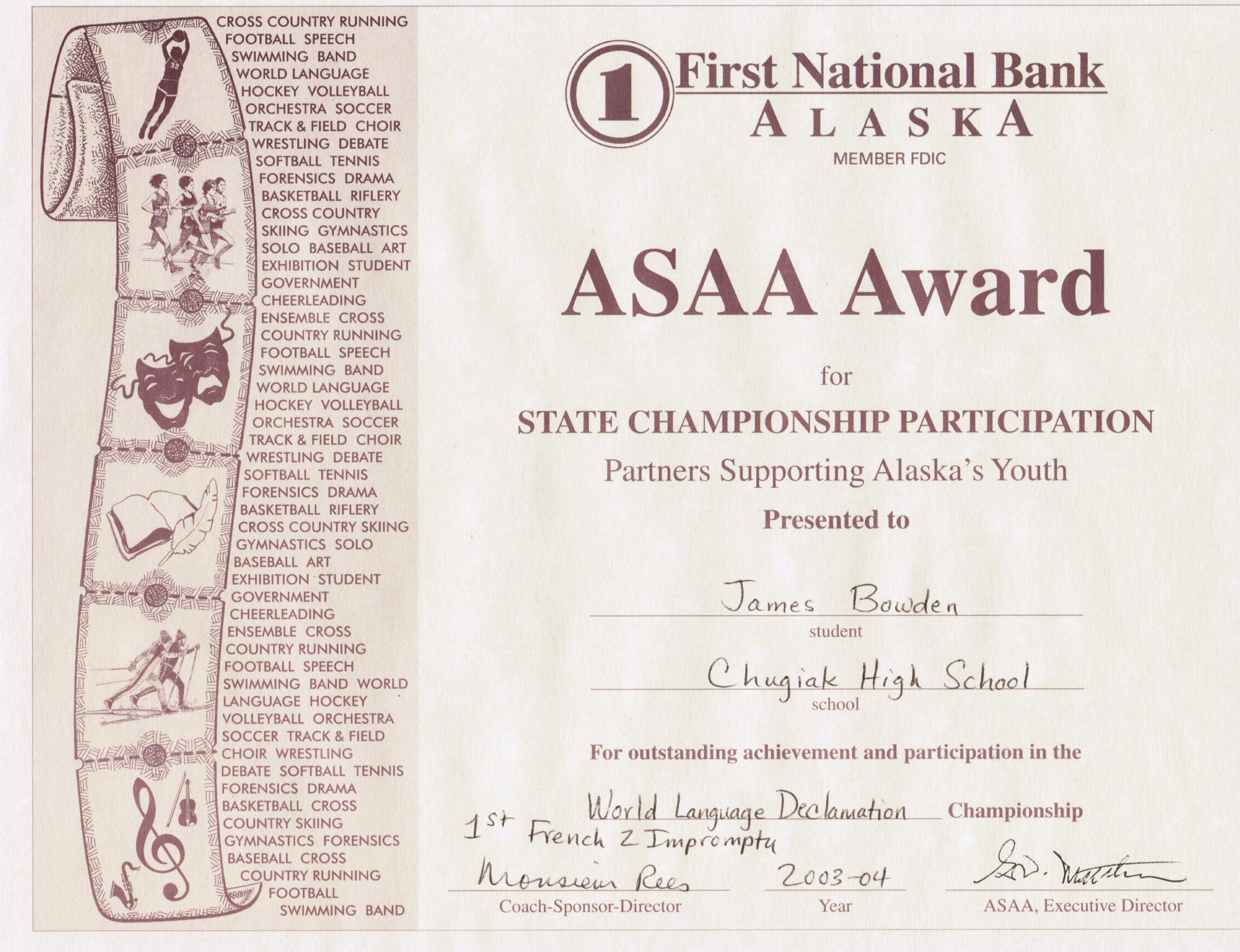 4 awards and certificates 2001 2010 james bowdens blog 2004 asaa award for french language declamation yelopaper Gallery