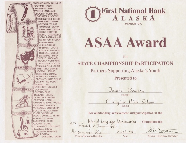 2004, ASAA Award for French-Language Declamation