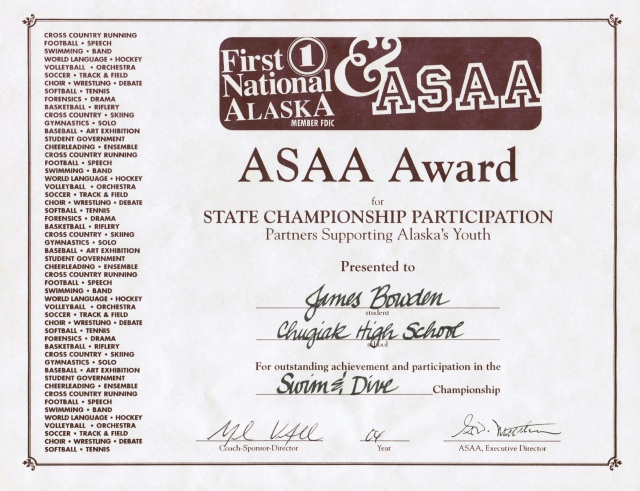 2004, ASSA Award for Swimming