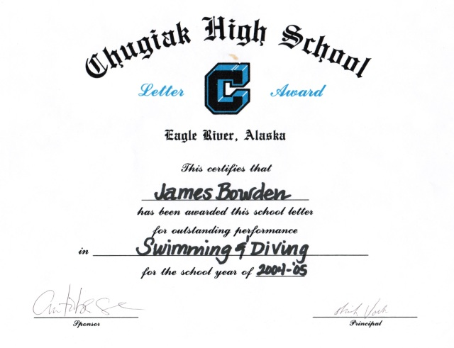 2004, Letter Award for Swimming