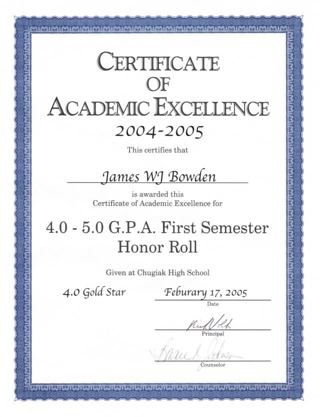 2005-02-17, Honour Roll (Grade 11, 1st Semester)