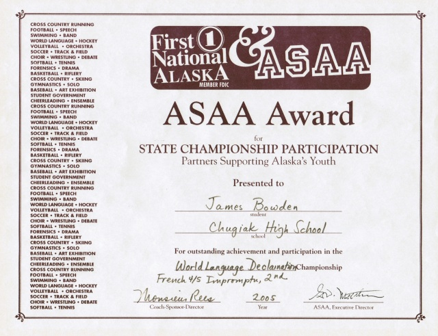 2005, ASAA Award for French-language Declamation