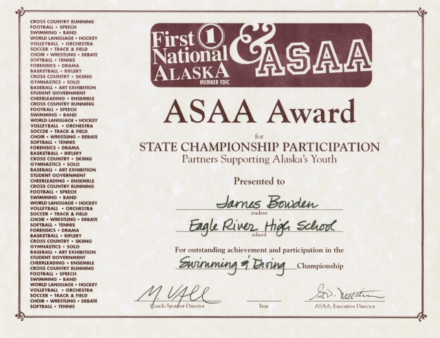 2005, ASAA Award for Swimming