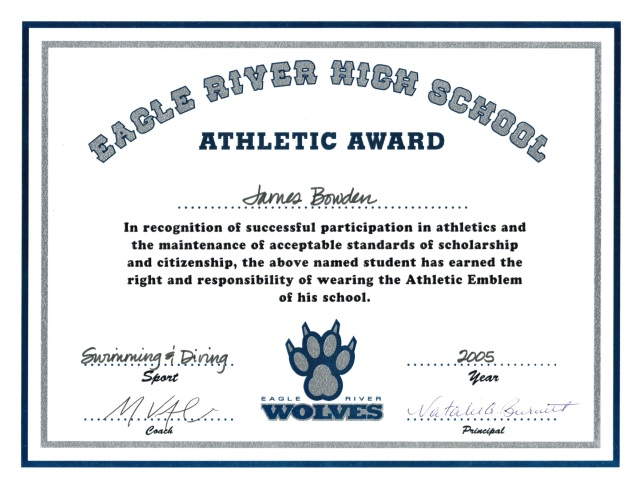 2005, Letter Award for Swimming