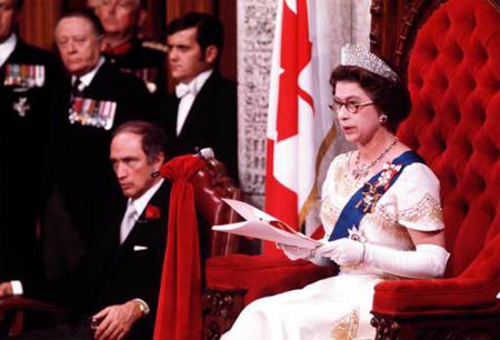 Queen Elizabeth II reads the Trudeau government's speech from the throne in 1977