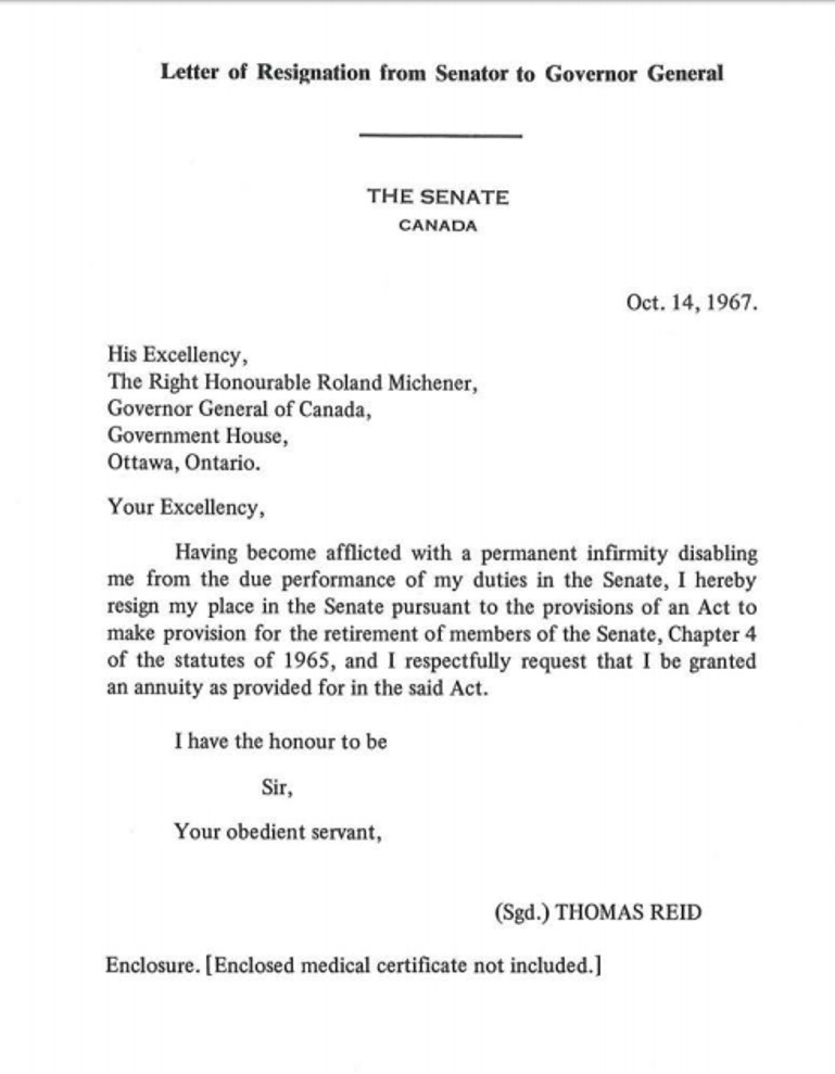 merediths resignation would therefore take effect once the governor general acknowledges receipt of merediths formal and proper letter whenever that